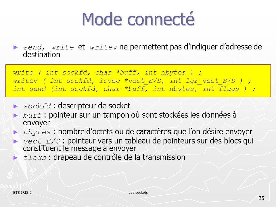 Mode connectésend, write et writev ne permettent pas d'indiquer d'adresse de destination. write ( int sockfd, char *buff, int nbytes ) ;