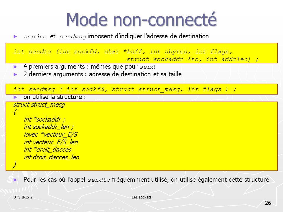 Mode non-connecté sendto et sendmsg imposent d'indiquer l'adresse de destination. int sendto (int sockfd, char *buff, int nbytes, int flags,