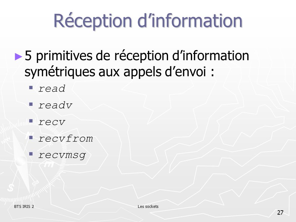 Réception d'information
