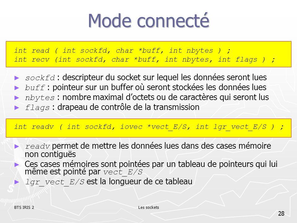 Mode connectéint read ( int sockfd, char *buff, int nbytes ) ; int recv (int sockfd, char *buff, int nbytes, int flags ) ;