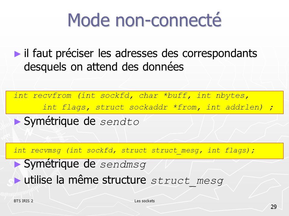 Mode non-connectéil faut préciser les adresses des correspondants desquels on attend des données. int recvfrom (int sockfd, char *buff, int nbytes,