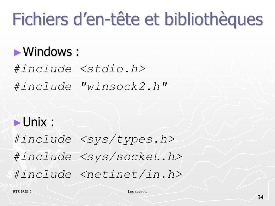 Fichiers d'en-tête et bibliothèques