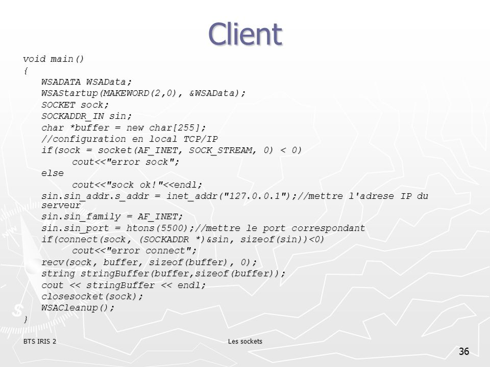 Client void main() { WSADATA WSAData;