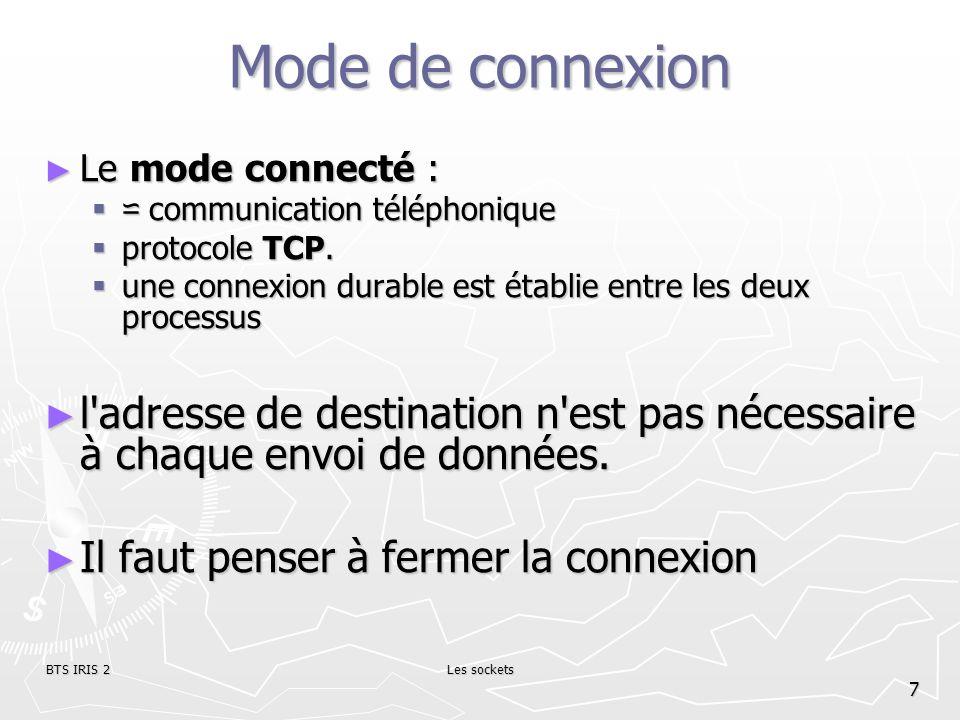Mode de connexionLe mode connecté : ⋍ communication téléphonique. protocole TCP. une connexion durable est établie entre les deux processus.