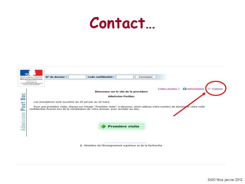 Contact… SAIO Nice janvier 2012