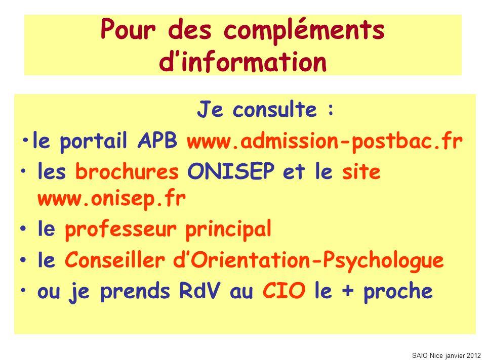 Pour des compléments d'information