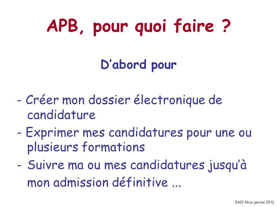 APB, pour quoi faire D'abord pour