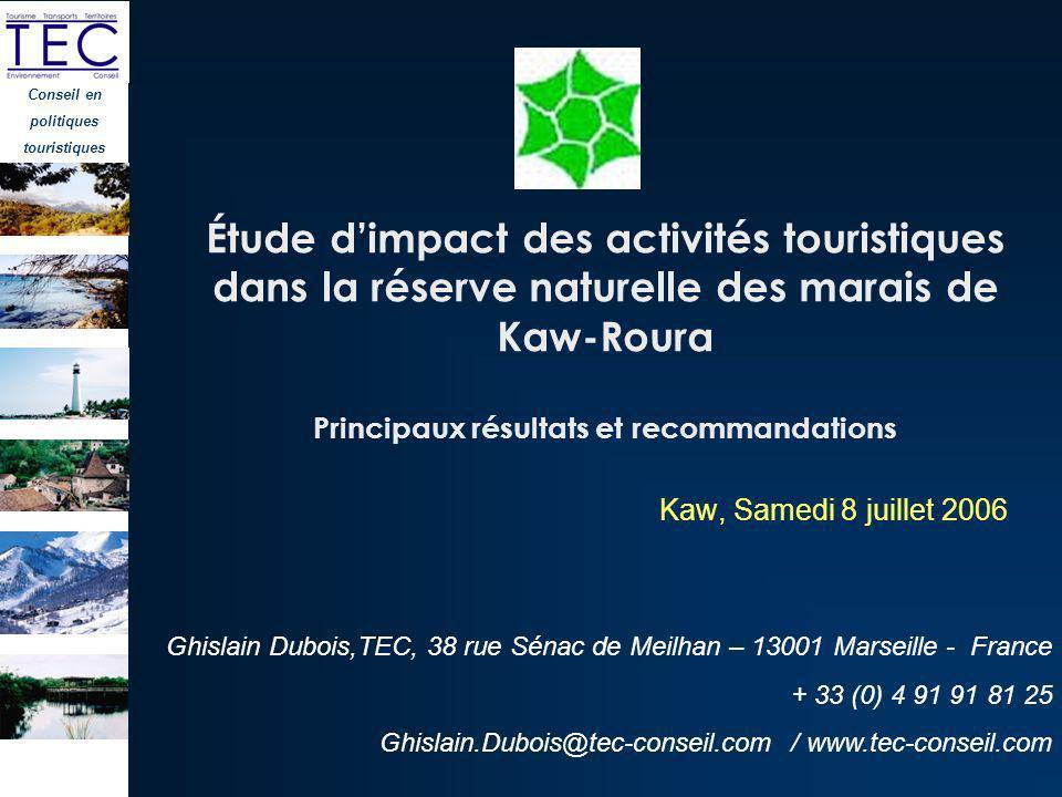 Étude d'impact des activités touristiques dans la réserve naturelle des marais de Kaw-Roura Principaux résultats et recommandations