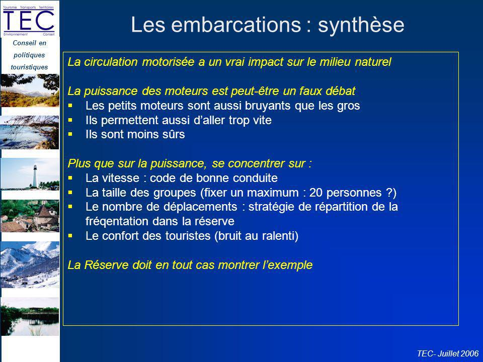 Les embarcations : synthèse
