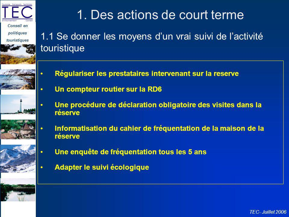 1. Des actions de court terme