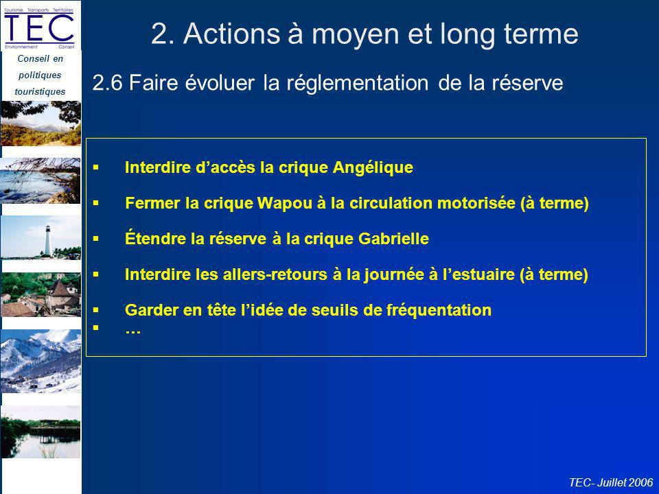 2. Actions à moyen et long terme