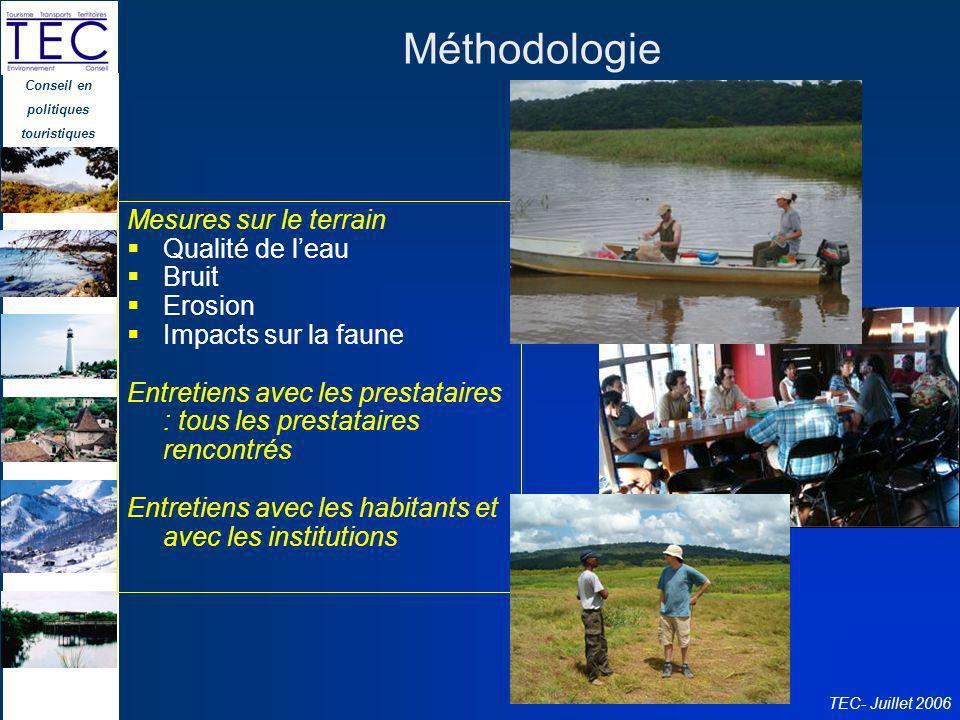 Méthodologie Mesures sur le terrain Qualité de l'eau Bruit Erosion