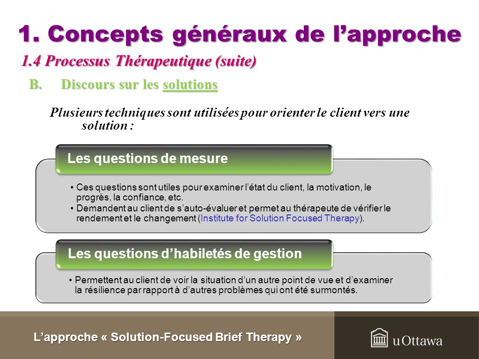 concepts in solution focused brief therapy Solution-focused therapy (sft) was developed in an american clinical family  therapy  therapists were using brief treatment approaches, although these  were not for-  to emphasize our view that there is a conceptual relationship and  a.