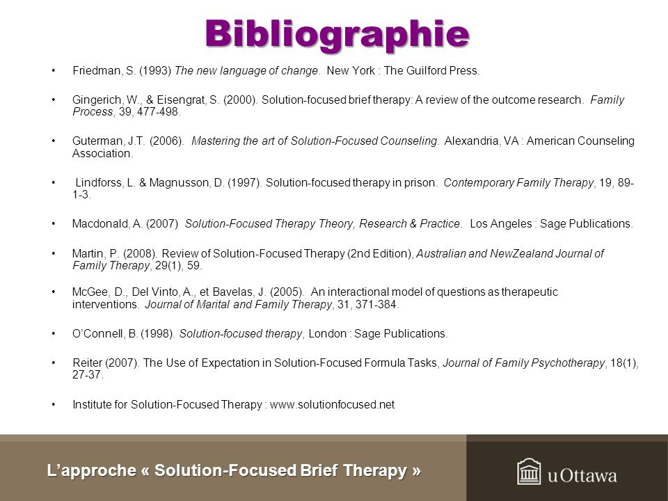 L'approche « Solution-Focused Brief Therapy »