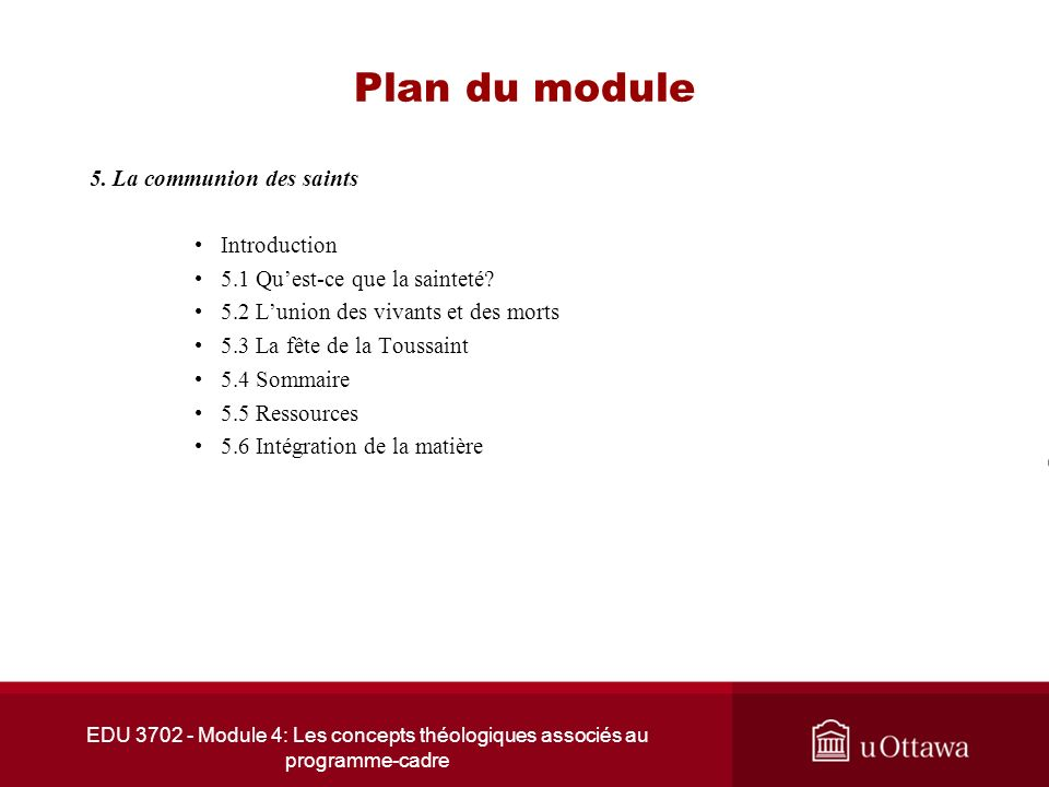 Plan du module 5. La communion des saints Introduction