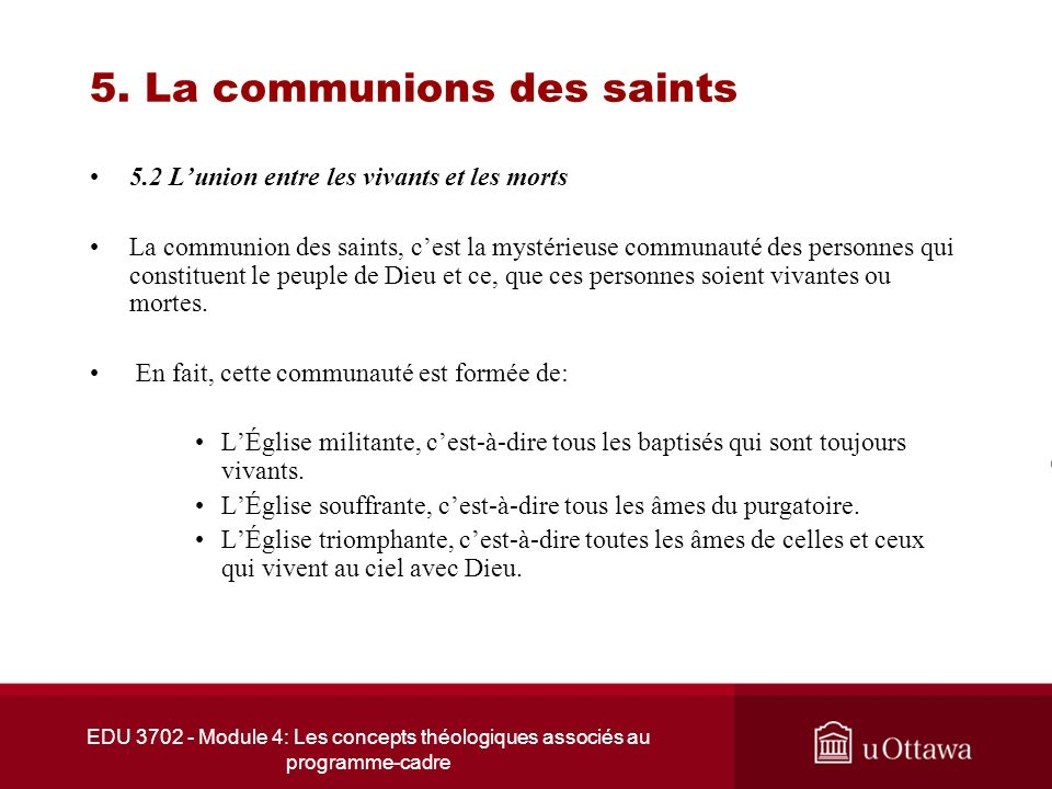 5. La communions des saints