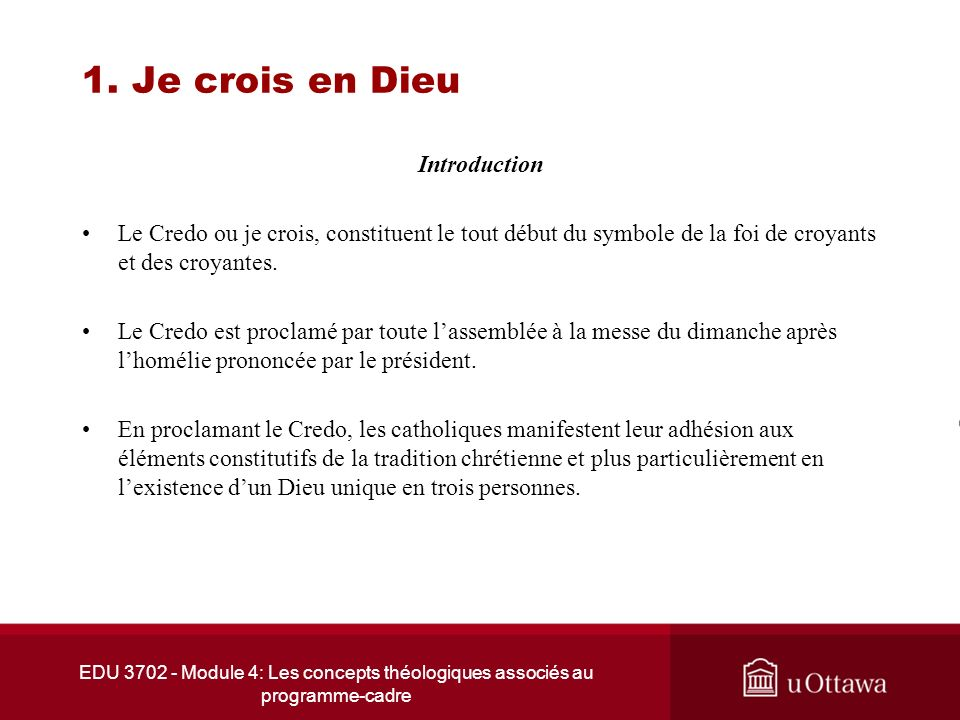 1. Je crois en Dieu Introduction