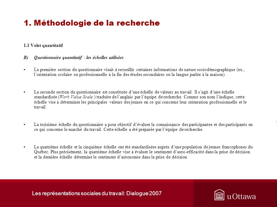 1. Méthodologie de la recherche