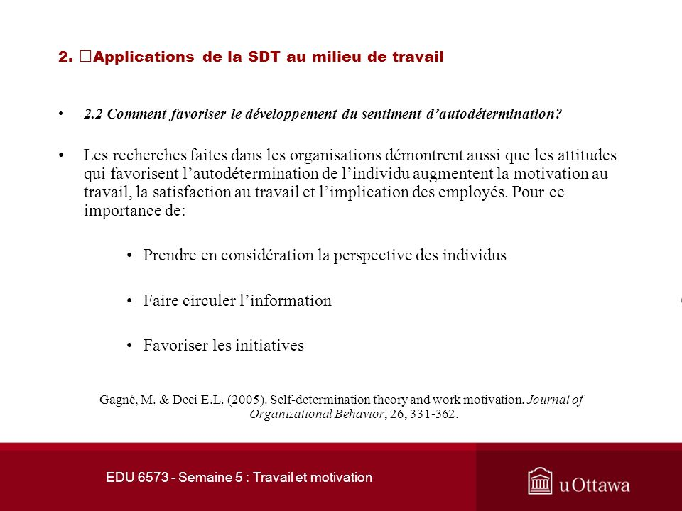 2. Applications de la SDT au milieu de travail