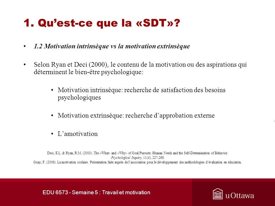 1. Qu'est-ce que la «SDT» 1.2 Motivation intrinsèque vs la motivation extrinsèque.
