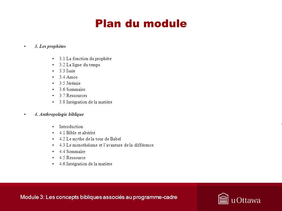 Module 3: Les concepts bibliques associés au programme-cadre
