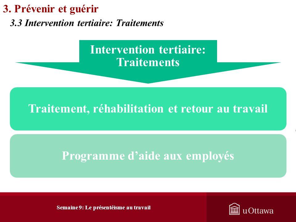 3. Prévenir et guérir 3.3 Intervention tertiaire: Traitements