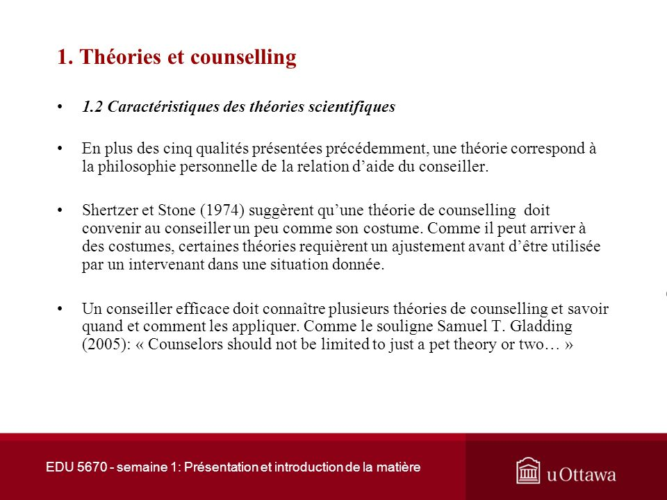 1. Théories et counselling