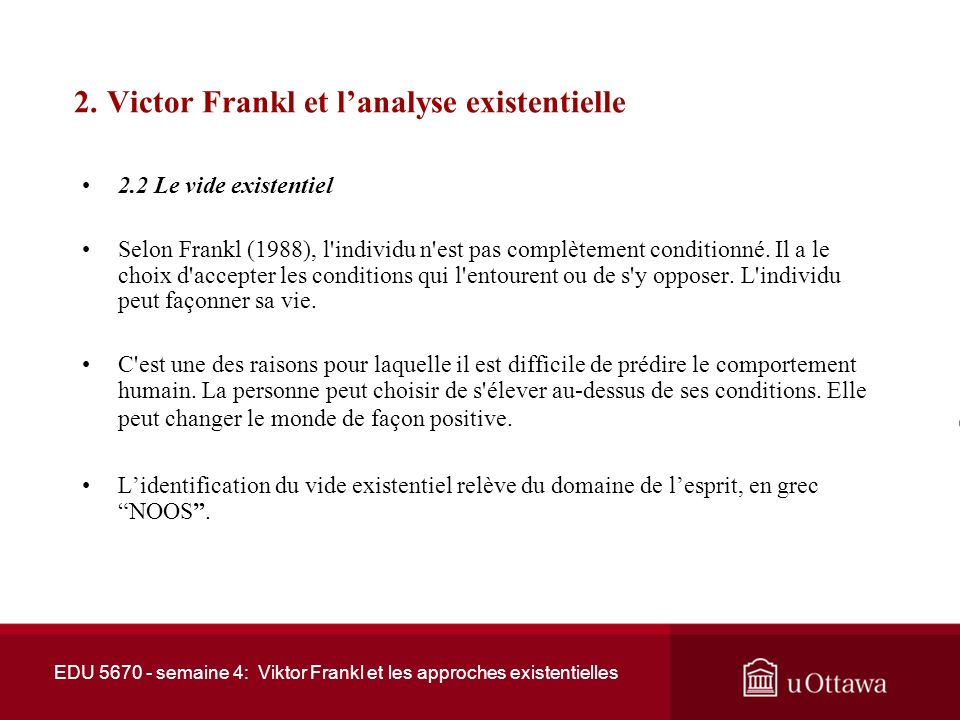 2. Victor Frankl et l'analyse existentielle