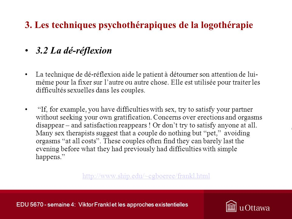 3. Les techniques psychothérapiques de la logothérapie