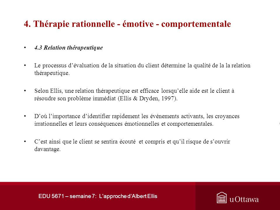 4. Thérapie rationnelle - émotive - comportementale