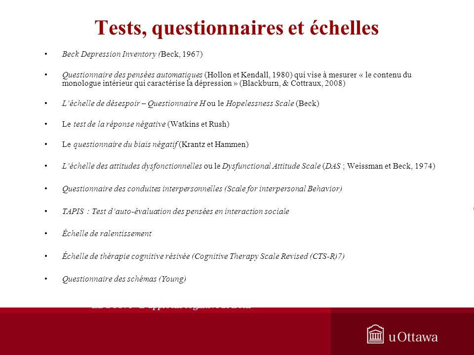 Tests, questionnaires et échelles