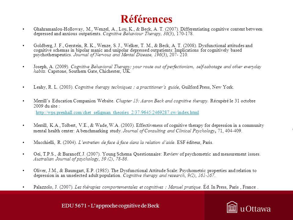 Références EDU 5671 - L'approche cognitive de Beck