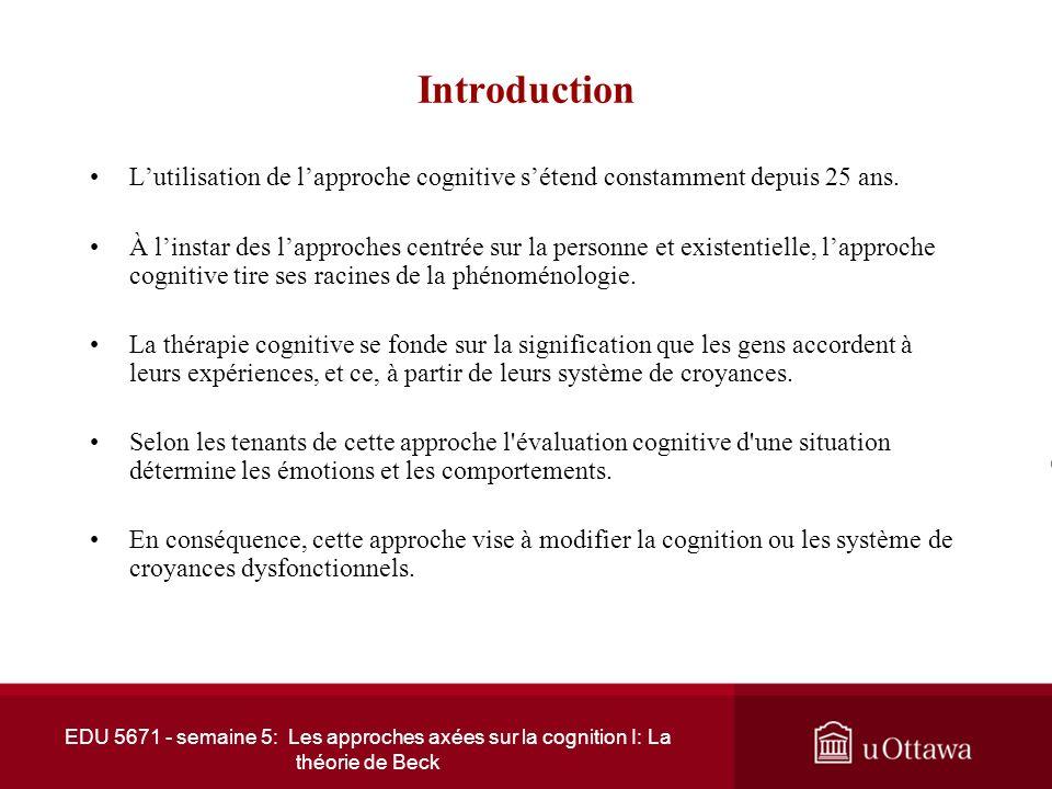 Introduction L'utilisation de l'approche cognitive s'étend constamment depuis 25 ans.