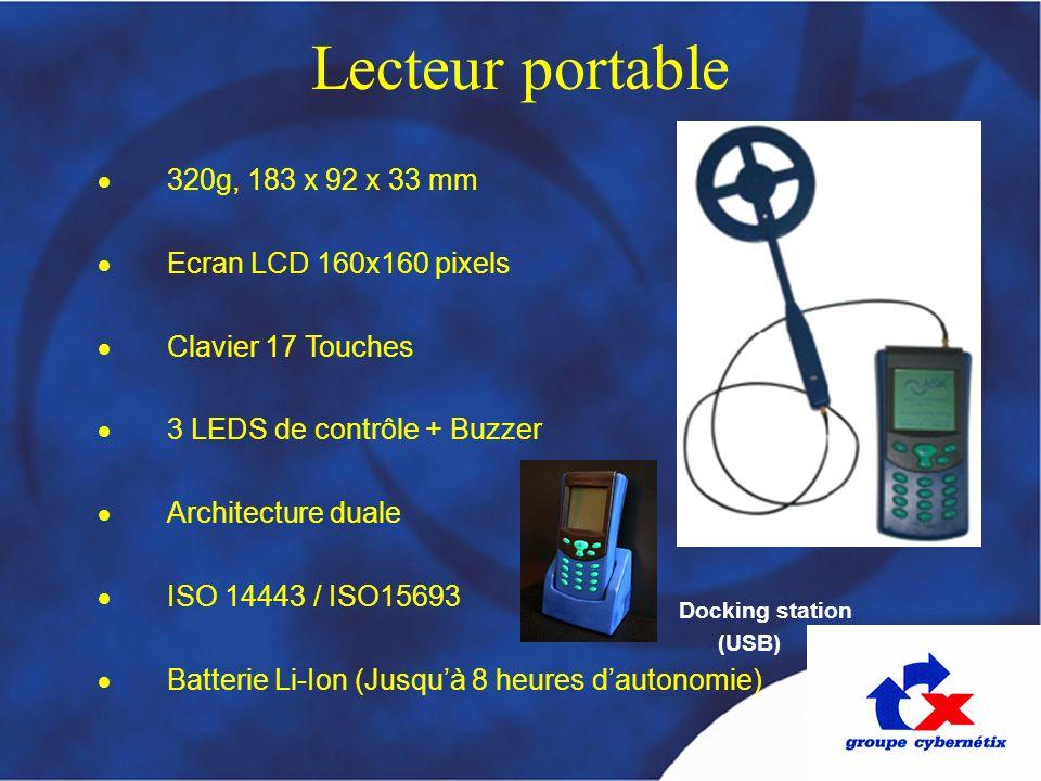 Lecteur portable 320g, 183 x 92 x 33 mm Ecran LCD 160x160 pixels