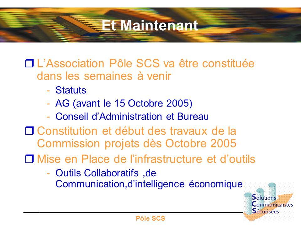 Et Maintenant L'Association Pôle SCS va être constituée dans les semaines à venir. Statuts. AG (avant le 15 Octobre 2005)