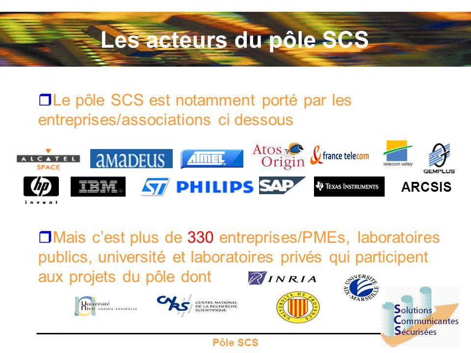 Les acteurs du pôle SCS Le pôle SCS est notamment porté par les entreprises/associations ci dessous.