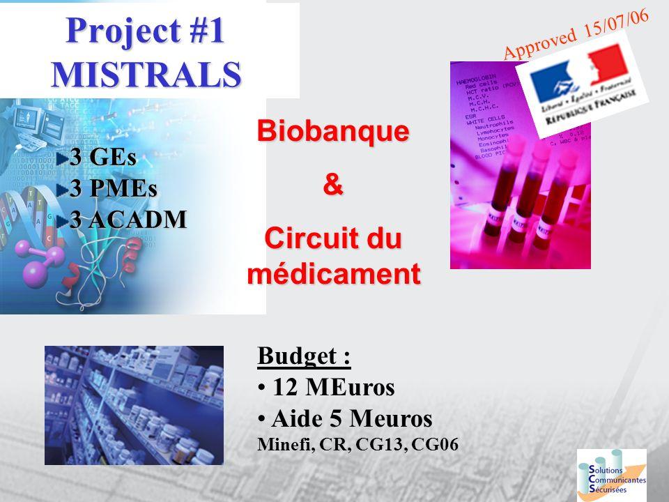 Project #1 MISTRALS Biobanque & Circuit du médicament 3 GEs 3 PMEs