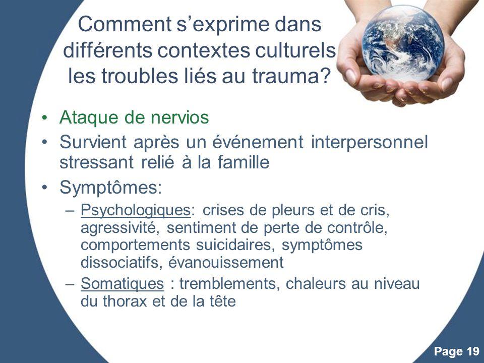 Comment s'exprime dans différents contextes culturels les troubles liés au trauma