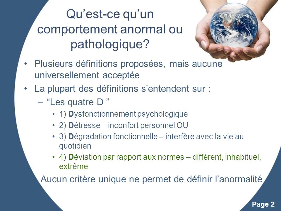Qu'est-ce qu'un comportement anormal ou pathologique