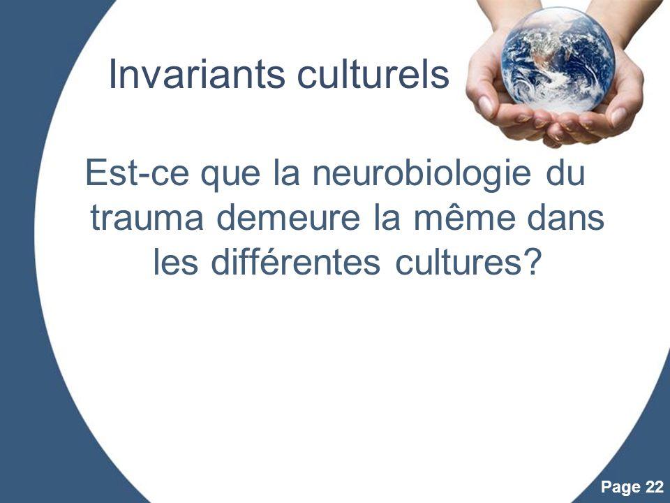 Invariants culturels Est-ce que la neurobiologie du trauma demeure la même dans les différentes cultures