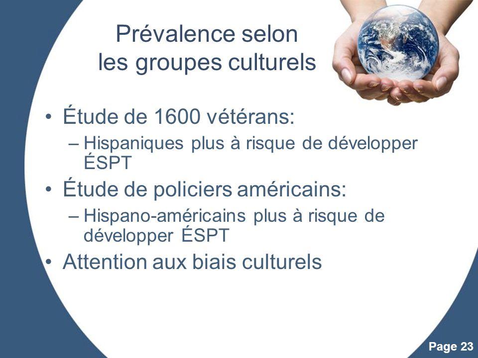 Prévalence selon les groupes culturels