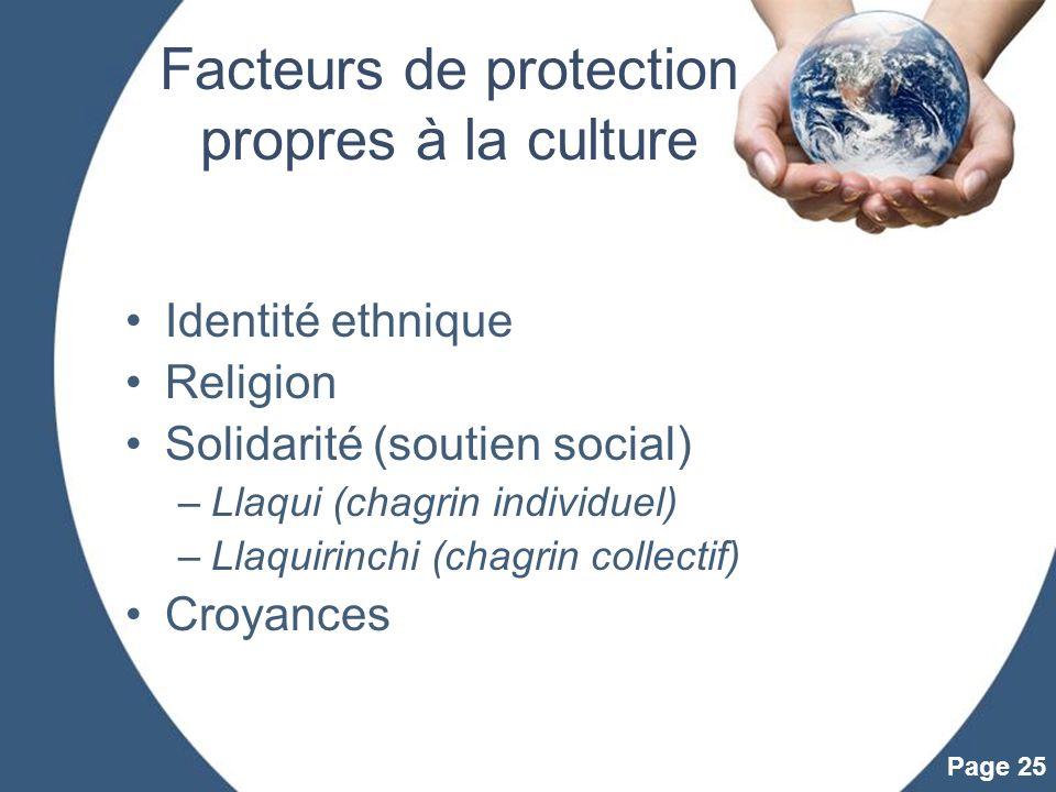 Facteurs de protection propres à la culture