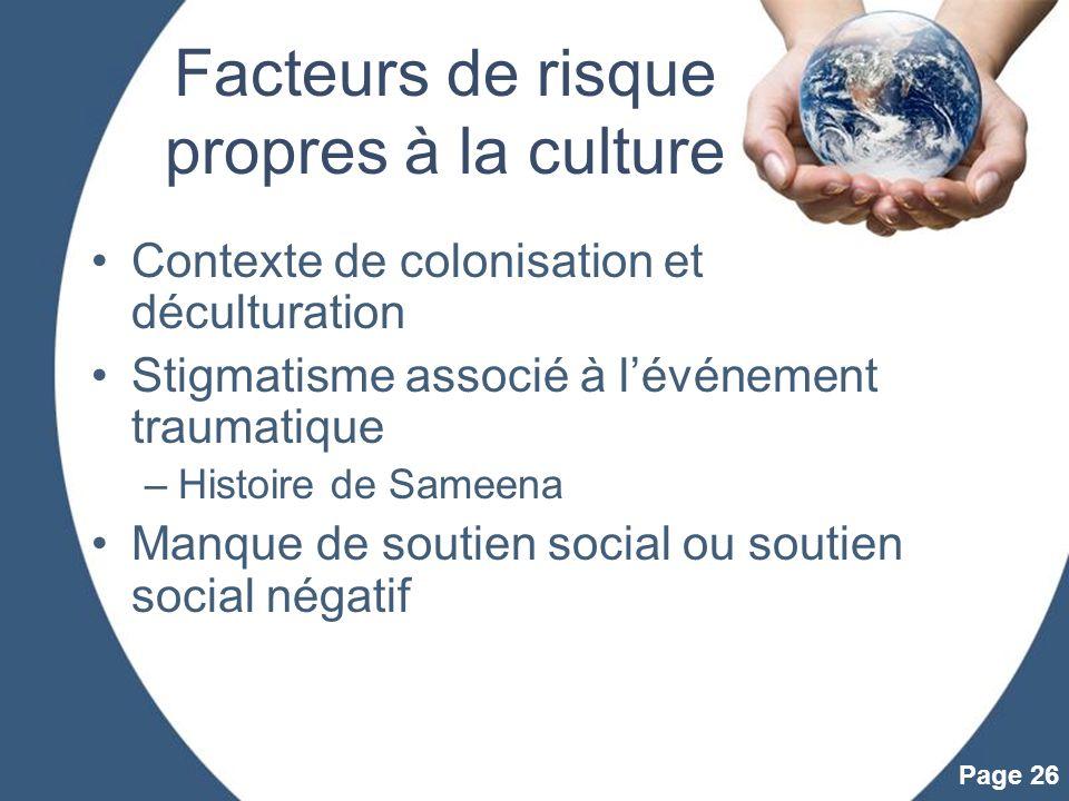 Facteurs de risque propres à la culture