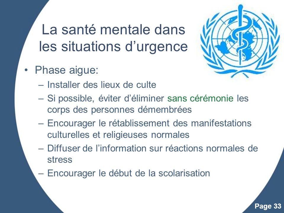 La santé mentale dans les situations d'urgence