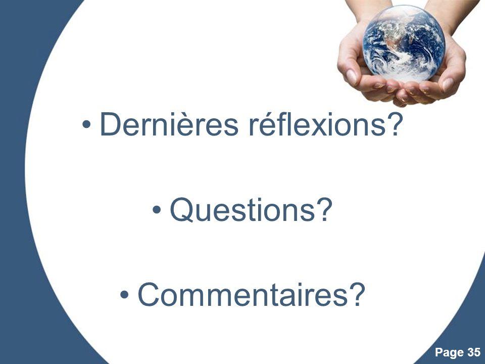 Dernières réflexions Questions Commentaires