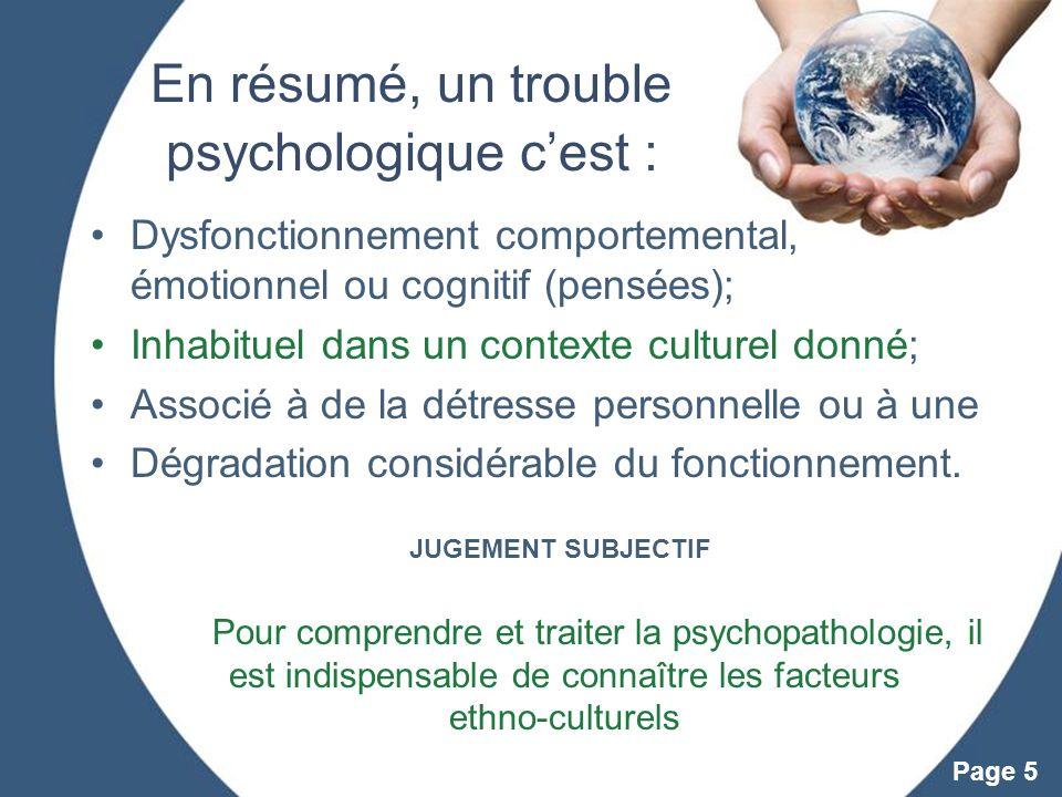 En résumé, un trouble psychologique c'est :