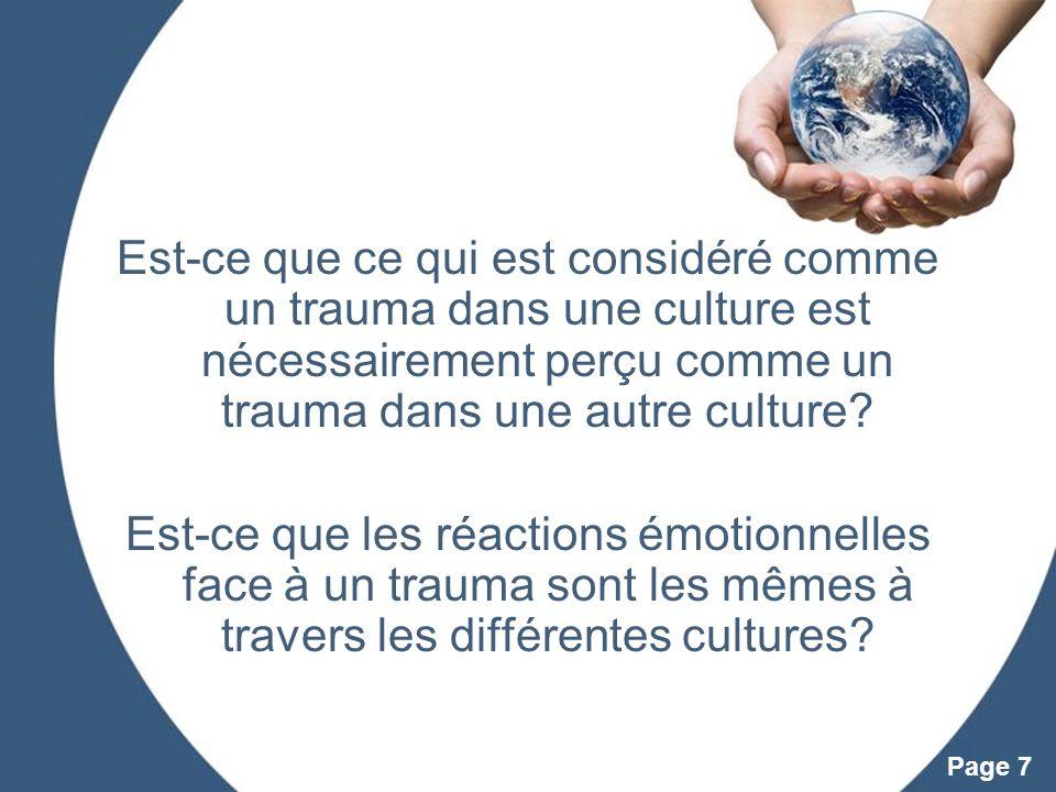 Est-ce que ce qui est considéré comme un trauma dans une culture est nécessairement perçu comme un trauma dans une autre culture