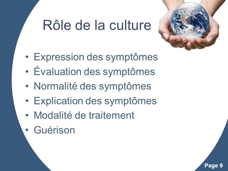 Rôle de la culture Expression des symptômes Évaluation des symptômes