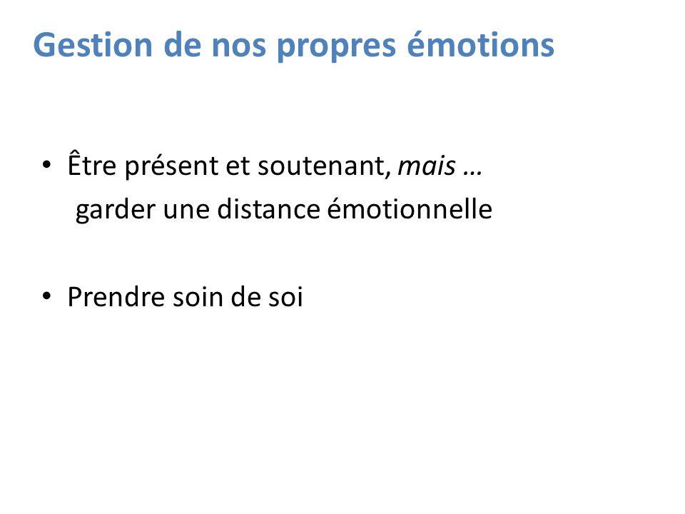 Gestion de nos propres émotions