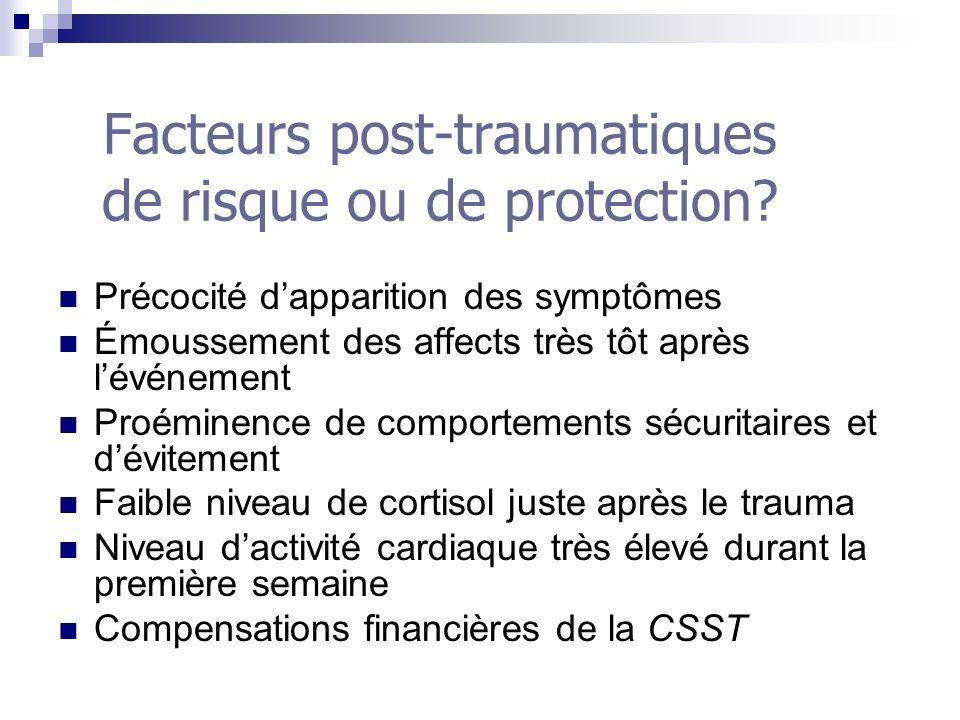 Facteurs post-traumatiques de risque ou de protection